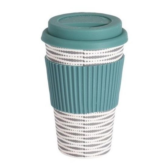 nieuw kopen goedkoop Britse winkel Bamboe koffie/thee beker met deksel strepen bestellen ...