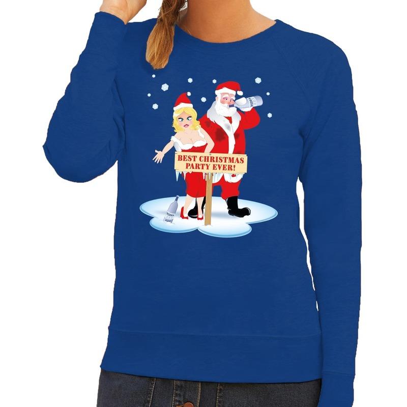 Kersttrui Hert.Foute Kersttrui Dronken Kerstman En Kerstvrouw Blauw Dames Bestellen